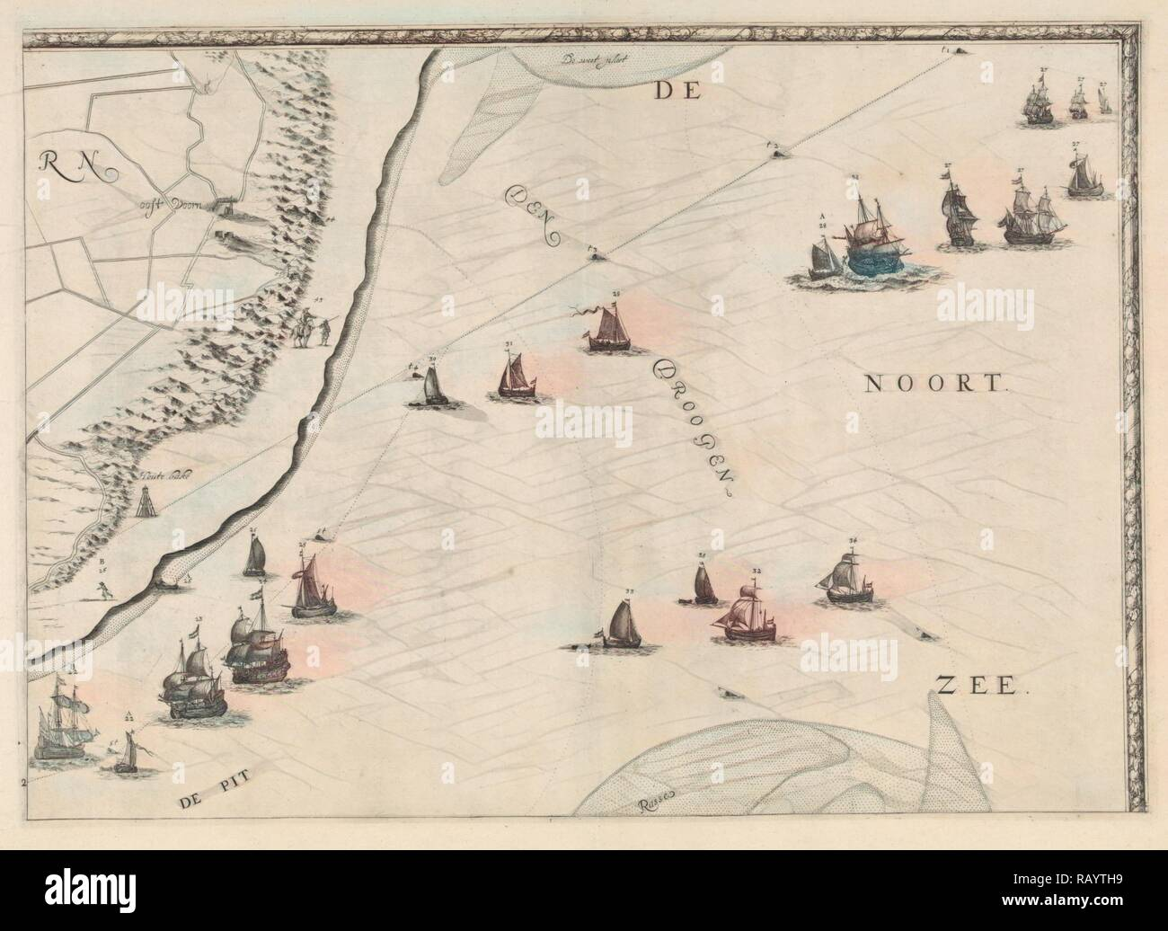 Map of the North Sea and the coast of Holland, Jacob Quack, 1665. Reimagined by Gibon. Classic art with a modern reimagined - Stock Image