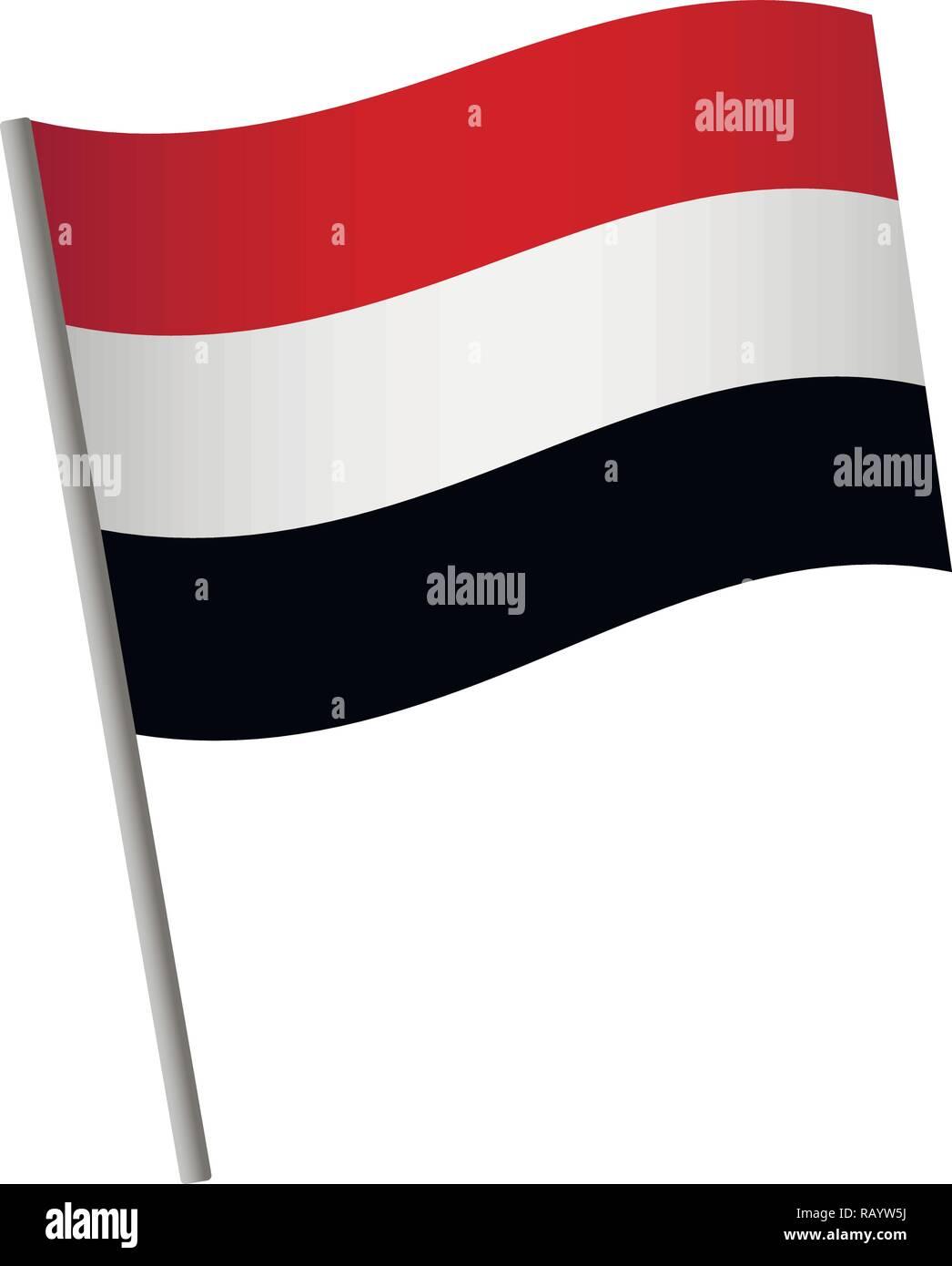 Yemen flag icon. National flag of Yemen on a pole vector illustration. Stock Vector