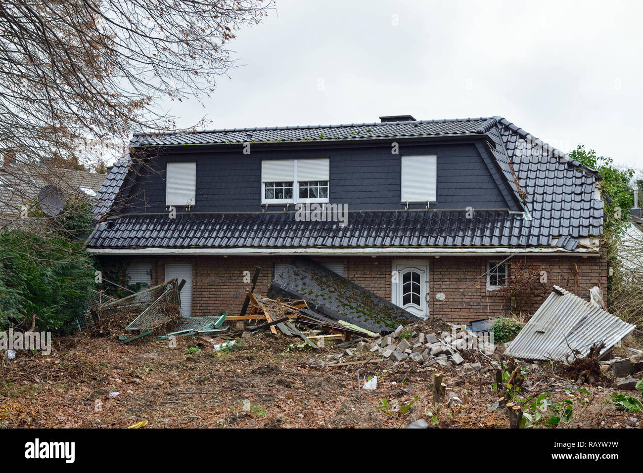 December 2018, Vacated house in Manheim Kerpen, Nordrhein-Westfalen, Germany - Demolition in preparation for the expanding lignite surface mine of RWE - Stock Image