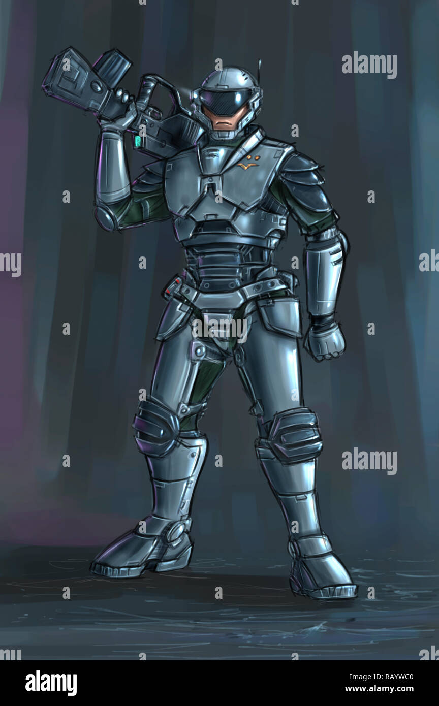 Concept Art Science Fiction Illustration Of Futuristic Soldier Character In Armor With Rifle Stock Photo Alamy