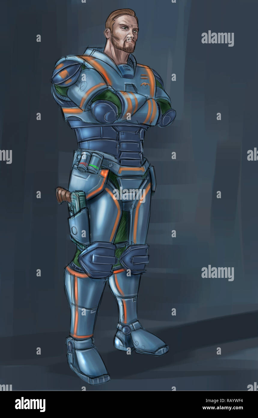 Concept Art Science Fiction Illustration Of Futuristic Soldier Character In Armor With Pistol Stock Photo Alamy