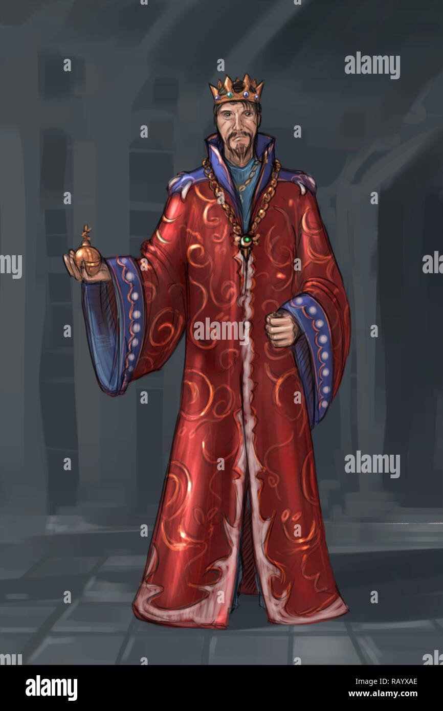 Concept Art Fantasy Illustration Of King In Red Robe Or Gown Stock Photo Alamy