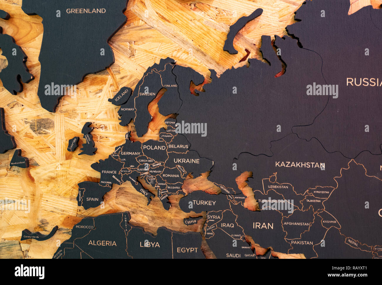 European part of world map made of charcoal and wood Stock Photo