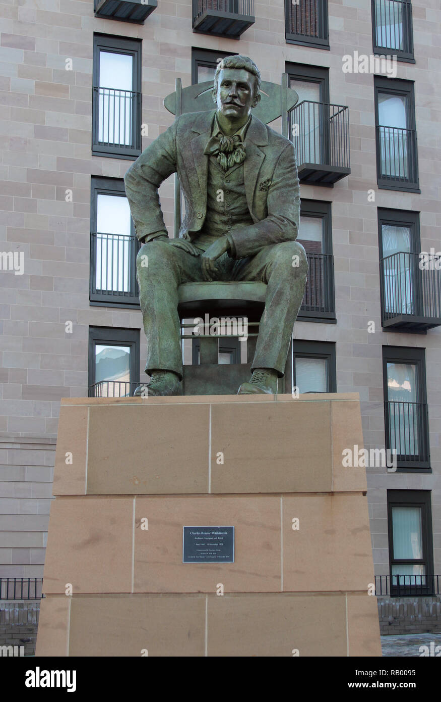 This lifelike statue of the great architect and designer, Charles Rennie Mackintosh, was unveiled in Glasgow in 2018 to commemorate his birthday, 150 years ago, and 90 years since his death. His most famous work was the Glasgow School of Art which has, sadly been burnt down. The statue is the work of Andy Scott. Alan Wylie/ALAMY © - Stock Image