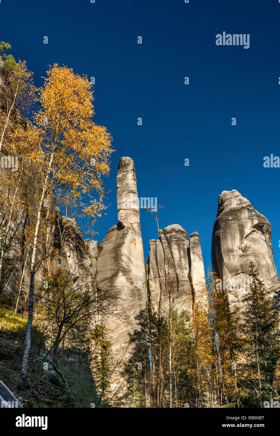 Sandstone towers at Adršpach Rocks, Adršpach-Teplice Rocks National Nature Reserve, Central Sudetes, Bohemia, Czech Republic - Stock Image