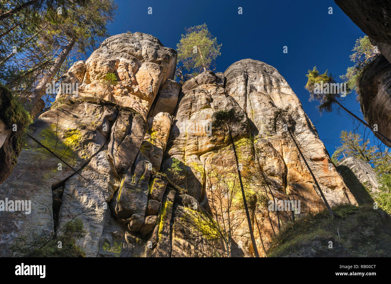 Rock towers at Adršpach Rocks, Adršpach-Teplice Rocks National Nature Reserve, Central Sudetes, Bohemia, Czech Republic - Stock Image
