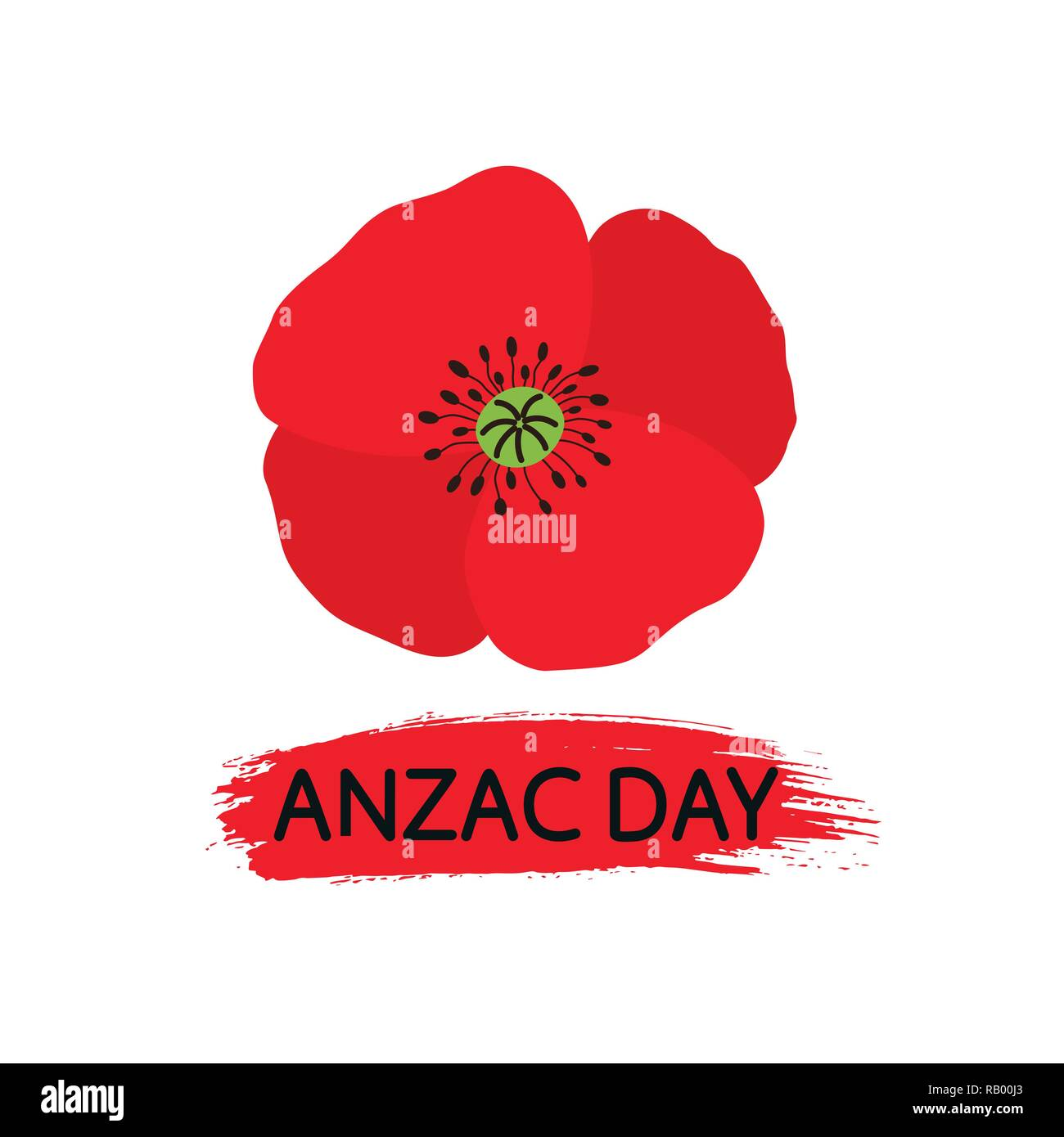Vector illustration of a bright poppy flower. Remembrance day symbol. Lest we forget lettering. - Stock Vector