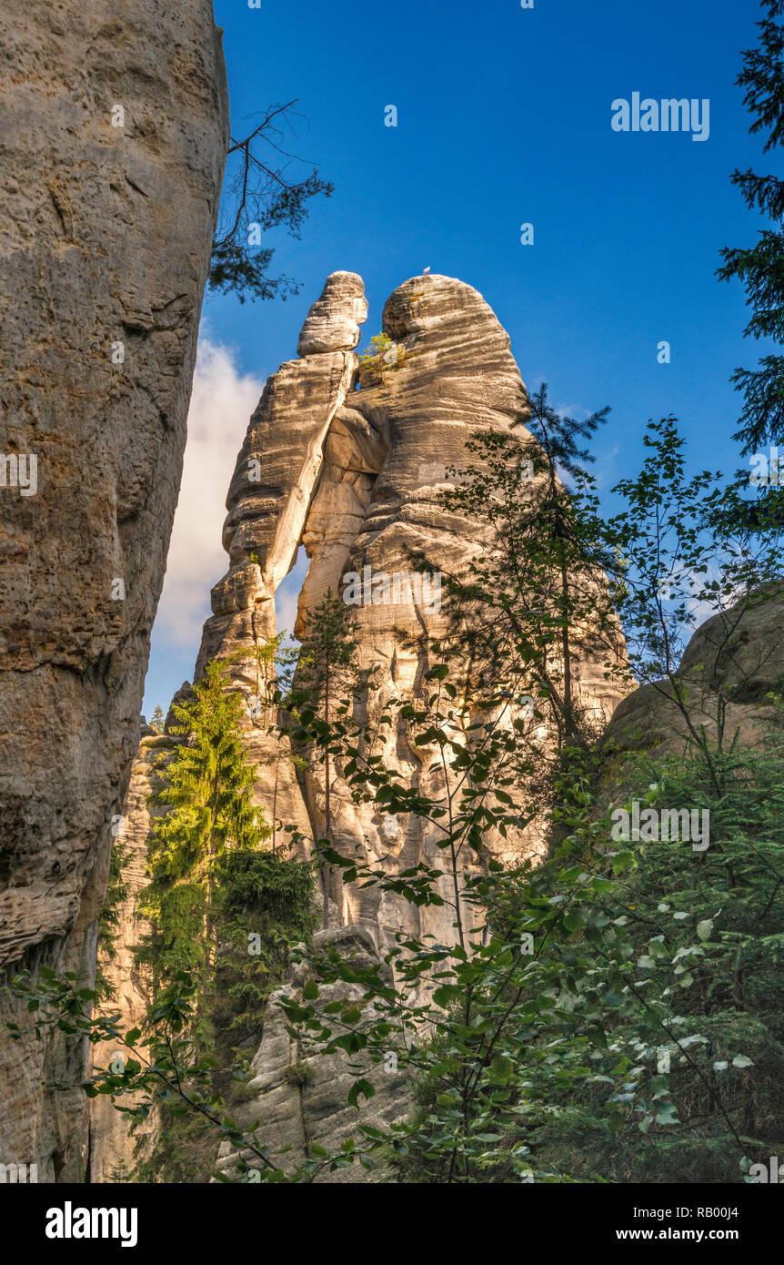 Lovers (Milenci), sandstone spires at Adršpach Rocks, Adršpach-Teplice Rocks National Nature Reserve, Central Sudetes, Bohemia, Czech Republic - Stock Image