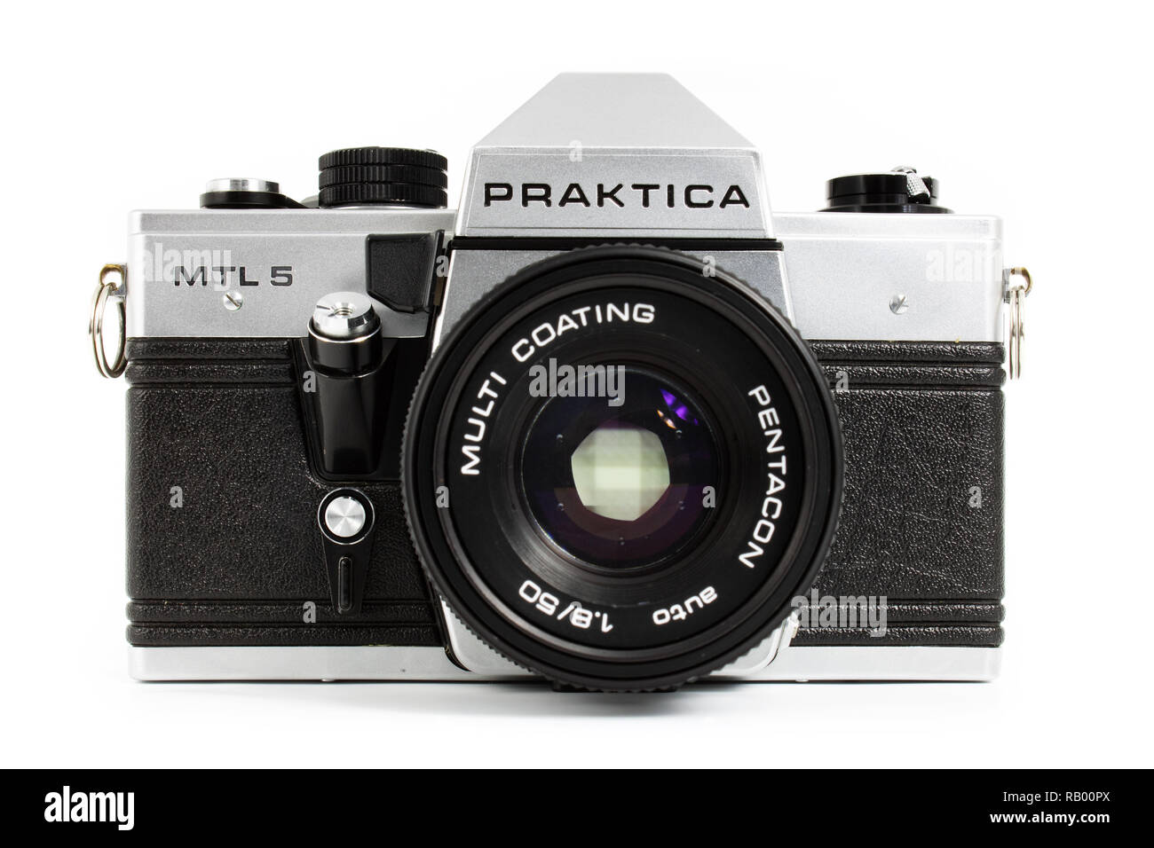 Prague, CZECH REPUBLIC - DECEMBER 24, 2018: Old SLR camera Praktica MTL5 for 35mm film made by German company Pentacon between 1983 and 1985 laid on w - Stock Image