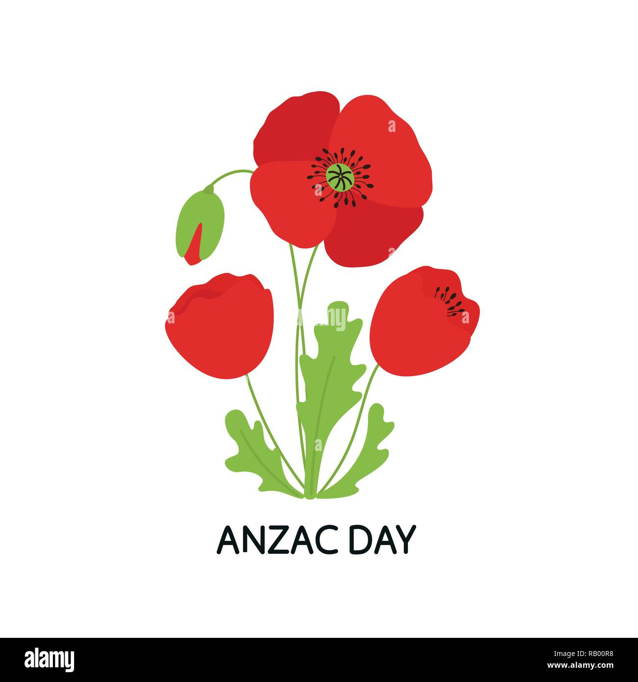 ANZAC DAY. Bouquet of poppy flowers. Vector illustration - Stock Vector