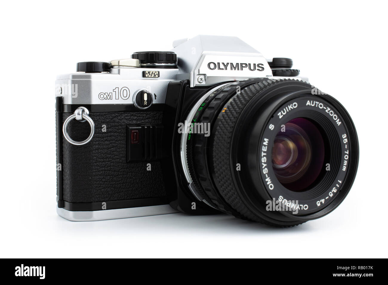 Prague, CZECH REPUBLIC - JANUARY 02, 2019: Olympus OM-10 is a 35mm film camera, launched by Olympus Corporation in June 1979, laid on white background - Stock Image