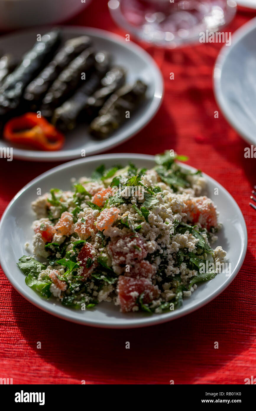Healthy Mediterranean food concept. Salad with cottage cheese, tomatoes and parsley. Vertical composition. - Stock Image