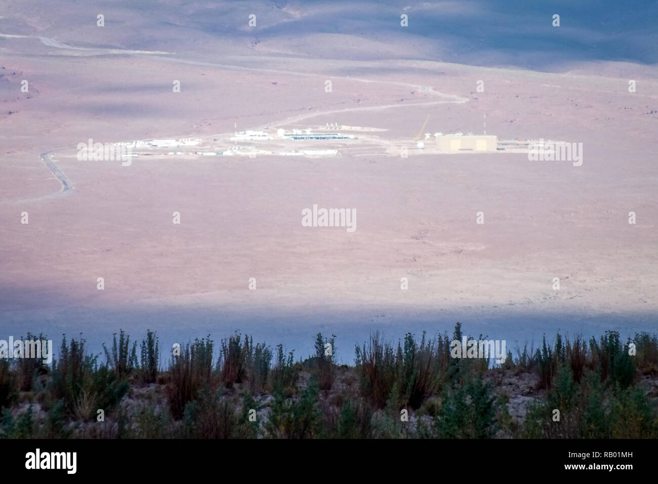 View of the salines in the Atacama desert. Amazing colorful landscape as background. - Stock Image