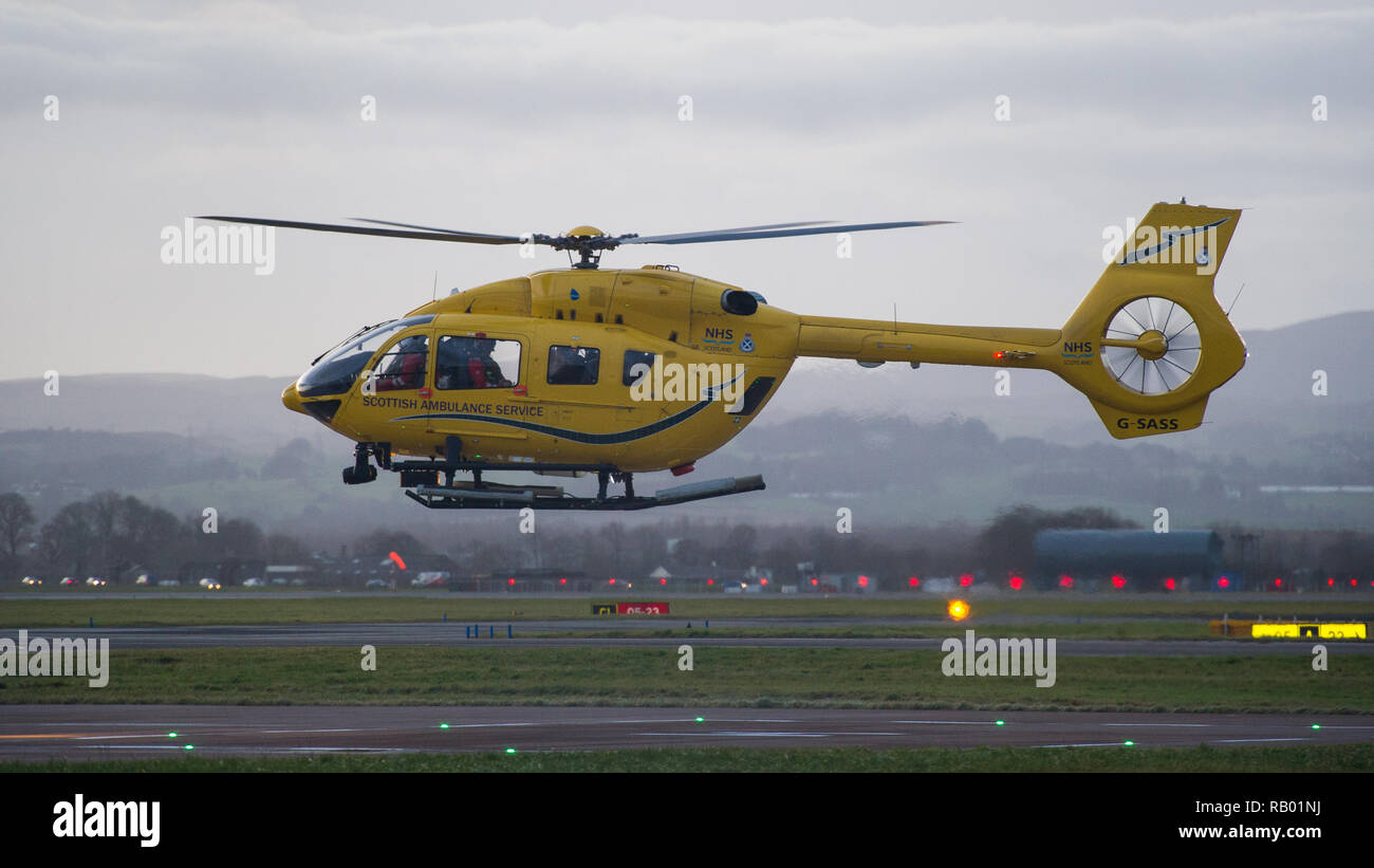 The Scottish Air Ambulance service provides essential life saving services to the National Health Service. Glasgow International Airport, UK. Stock Photo