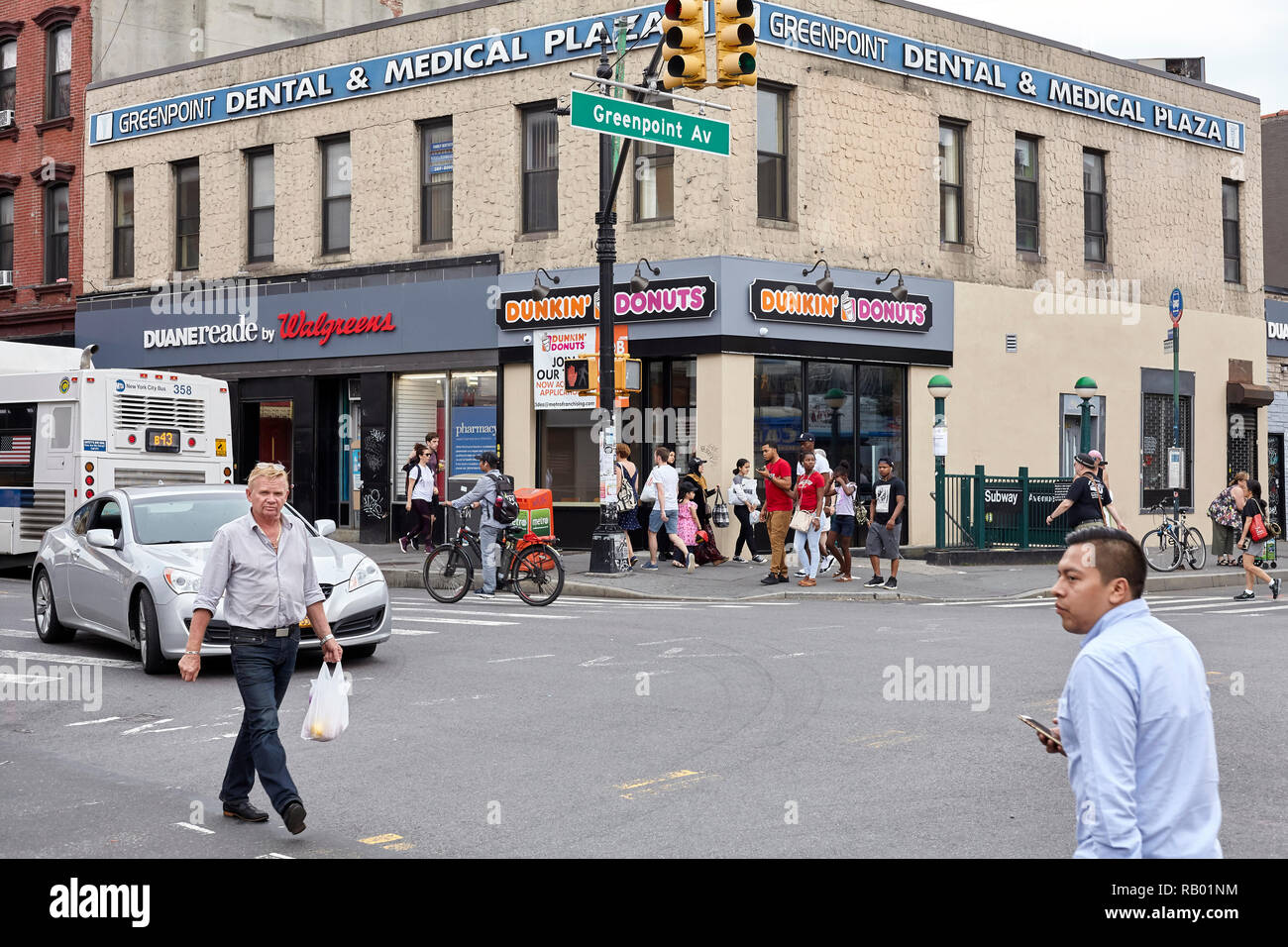New York, USA - July 04, 2018: Dunkin Donuts at Greenpoint Avenue, neighborhood also know as Little Poland. - Stock Image