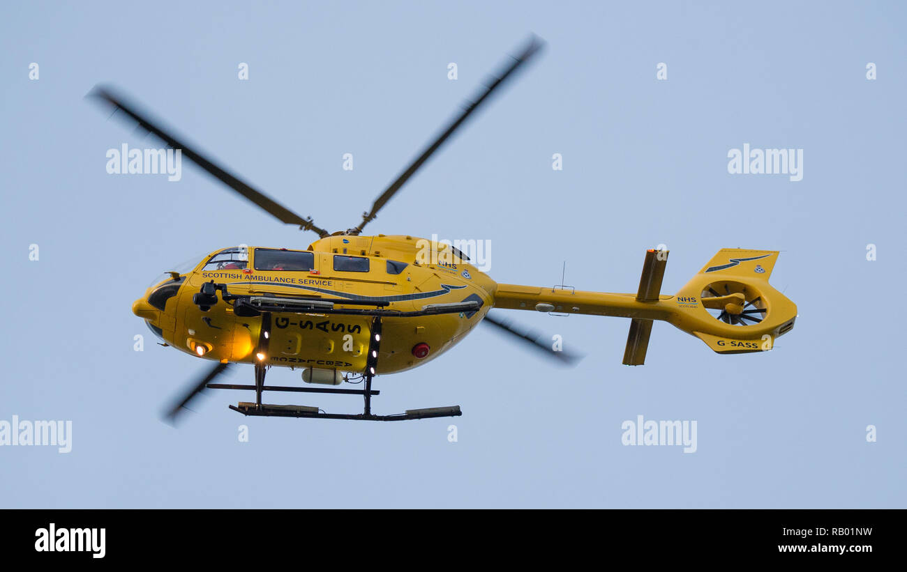 The Scottish Air Ambulance service provides essential life saving services to the National Health Service. Glasgow International Airport, UK. - Stock Image