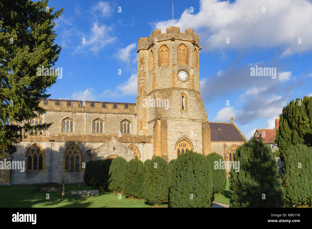St Michaels and All Angels parish church  in the small Somerset town  of Somerton  England UK - Stock Image
