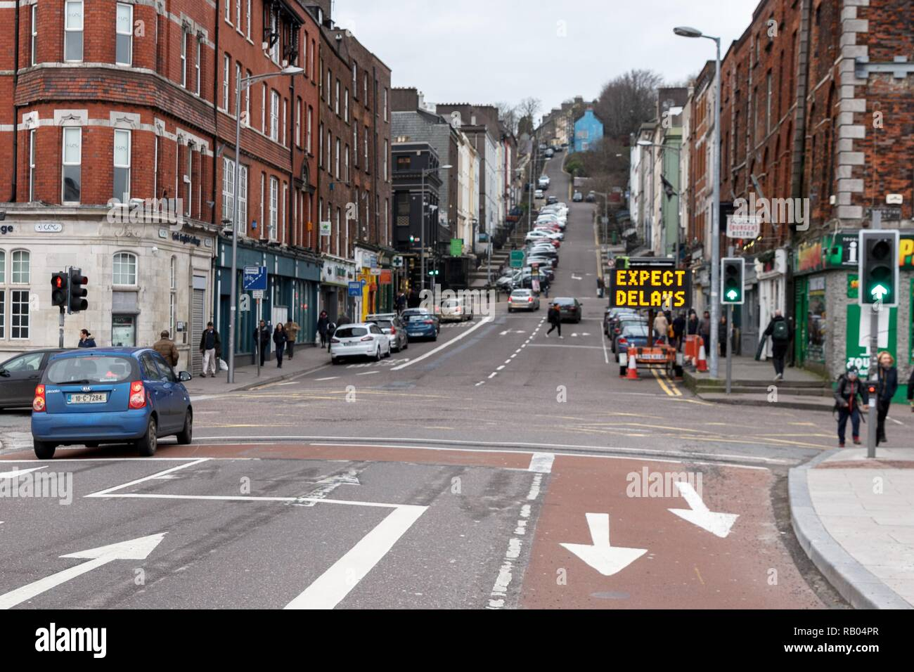 Cork, Ireland, 5th January, 2019.   MacCurtain Street Road Restricions, Cork City.  On Monday the 7th of January there will be lane restrictions in place to facilitate the installation of a water main on the Souhside of the street. The bus lane on the street will be used as a second live lane of traffic to facilitate the lane closure .  Credit: Damian Coleman/Alamy Live News. - Stock Image