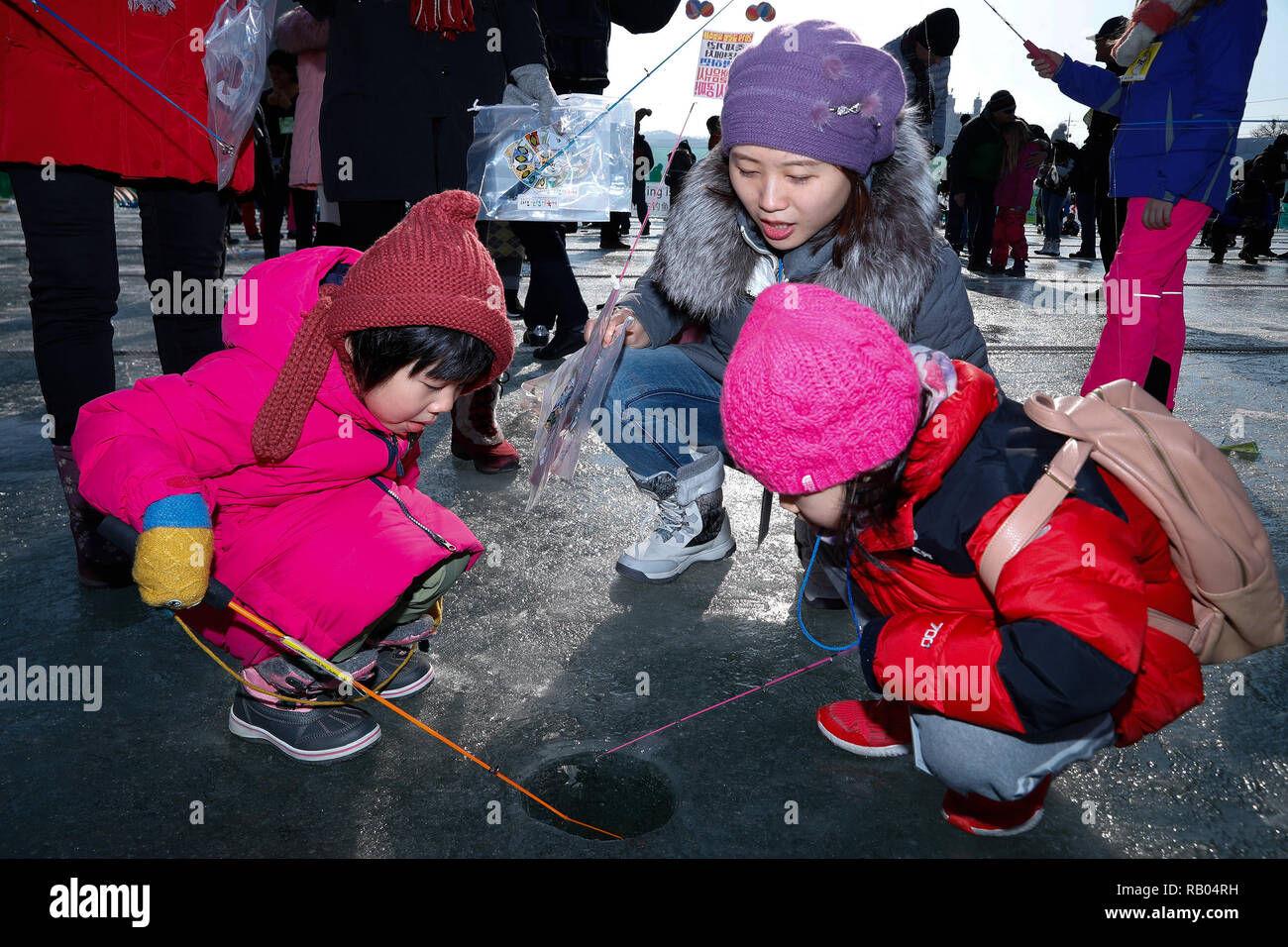 Hwacheon, South Korea  5th Jan, 2019  People fish for trouts
