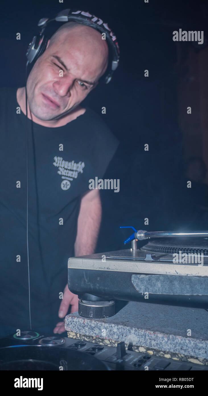 Madrid, Spain. 5th January 2019. David Vunk leader of italo disco electronic music for the first time in Madrid, Spain in the disco place la noche del sol Credit: Alberto Sibaja Ramírez/Alamy Live News - Stock Image