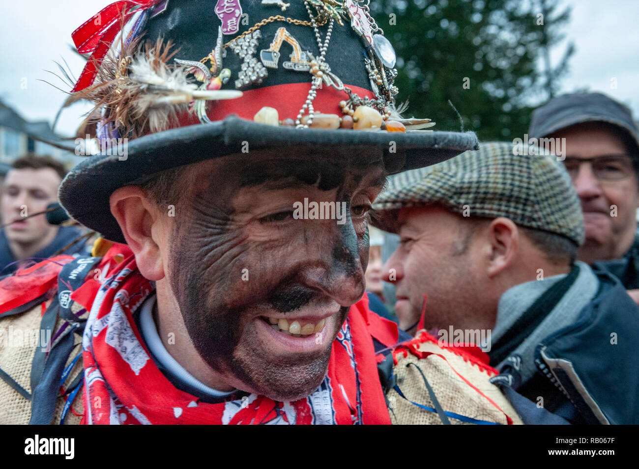 Haxey, Lincolnshire, UK.  5th January 2019.  The village of Haxey have been practicing the ancient tradition since the 14th Century.  It is believed to be the oldest local tradition in England. Known as the Haxey Hood it is most easily described as a sort of rugby match, with unlimited participants and few rules, as a leather tube is slowly walked by the large unorganised rugby scrum to one of four local pubs, where it remains until the following years game.  Credit:  Matt Limb OBE/Alamy Live News Stock Photo