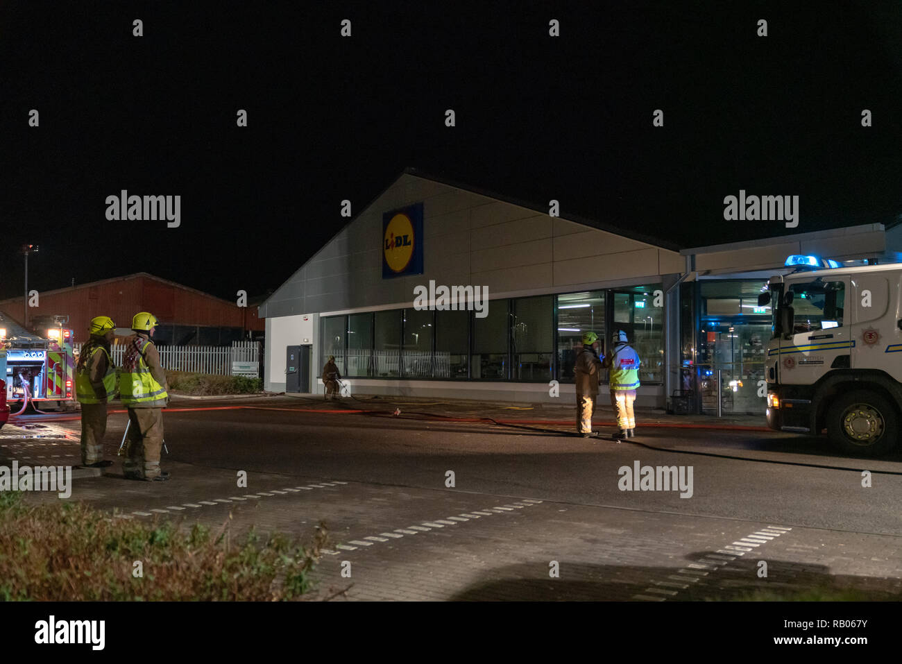 UK. 5th January 2019. This is the premises of Lidl, 18 West Road, Forres, IV36 2GW which had to be evacuated due to a fire within the premises. Photographed by JASPERIMAGE © - Stock Image