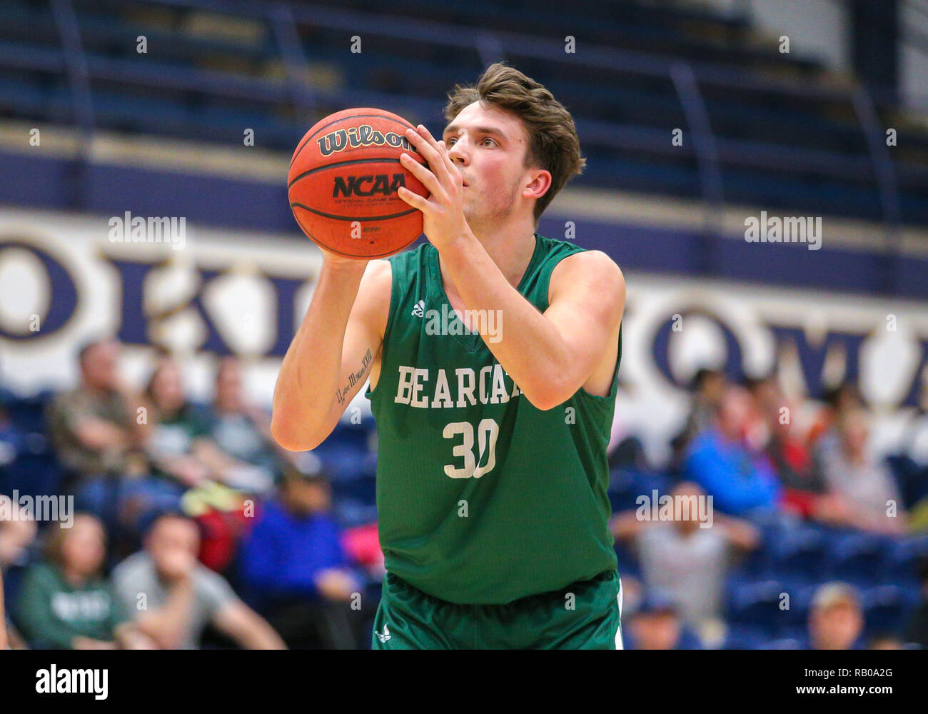 Oklahoma, USA. 5th Jan, 2019. Northwest Missouri Guard Joey Witthus (30) attempts a free throw during a basketball game between the Northwest Missouri Bearcats and the Central Oklahoma Bronchos at Hamilton Field House in Edmond, OK. Gray Siegel/CSM/Alamy Live News Stock Photo