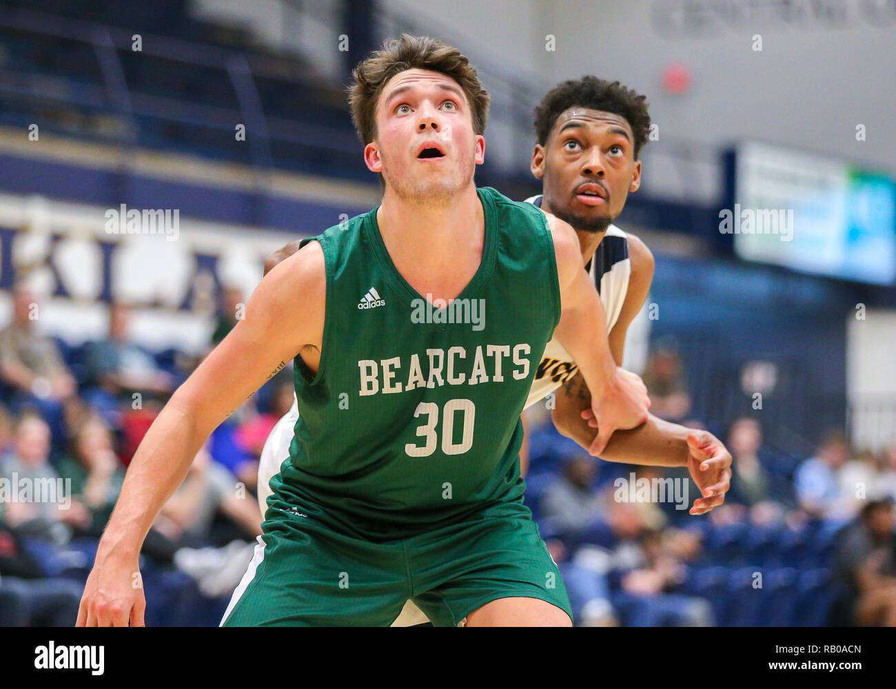 Oklahoma, USA. 5th Jan, 2019. Northwest Missouri Guard Joey Witthus (30) positions himself for a rebound during a basketball game between the Northwest Missouri Bearcats and the Central Oklahoma Bronchos at Hamilton Field House in Edmond, OK. Gray Siegel/CSM/Alamy Live News Stock Photo