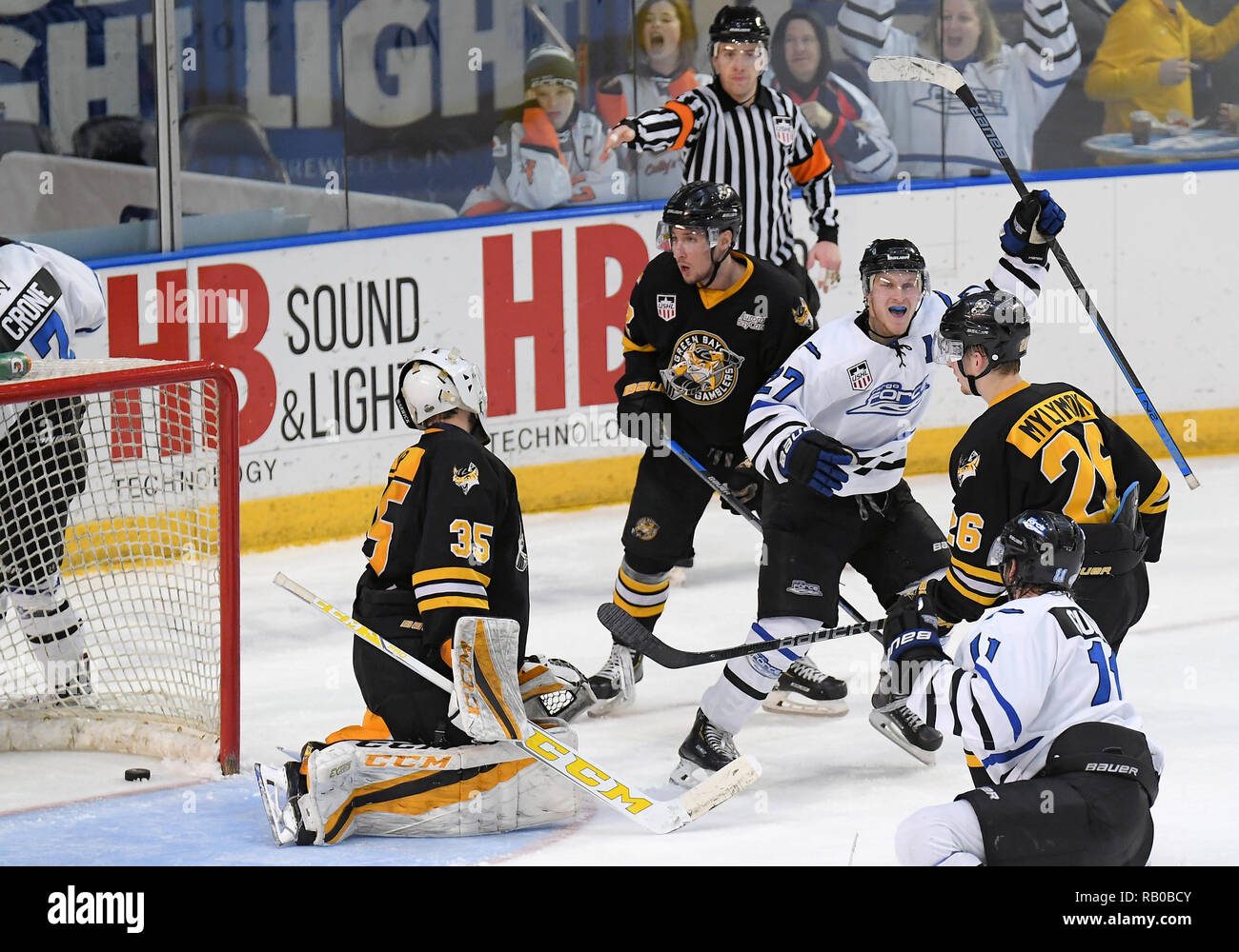 Fargo, ND, USA. 5th Jan, 2019. Fargo Force forward Ben Meyers (27) celebrates scoring a goal during a USHL game between the Green Bay Gamblers and the Fargo Force at Scheels Arena in Fargo, ND. Fargo defeated Green Bay 4-2. Photo by Russell Hons/CSM/Alamy Live News - Stock Image
