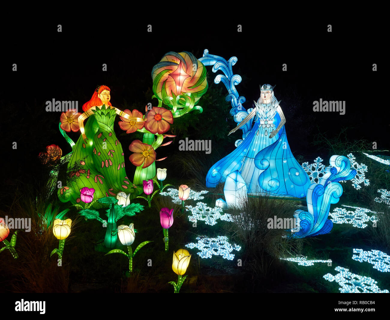 Edinburgh Zoo, Edinburgh, Scotland, UK, 5th January 2019, Giant Lanterns of China Display of Mythical Creatures, Legends and Animals throughout the Zoo during January 2019. Fairytale Princesses. - Stock Image