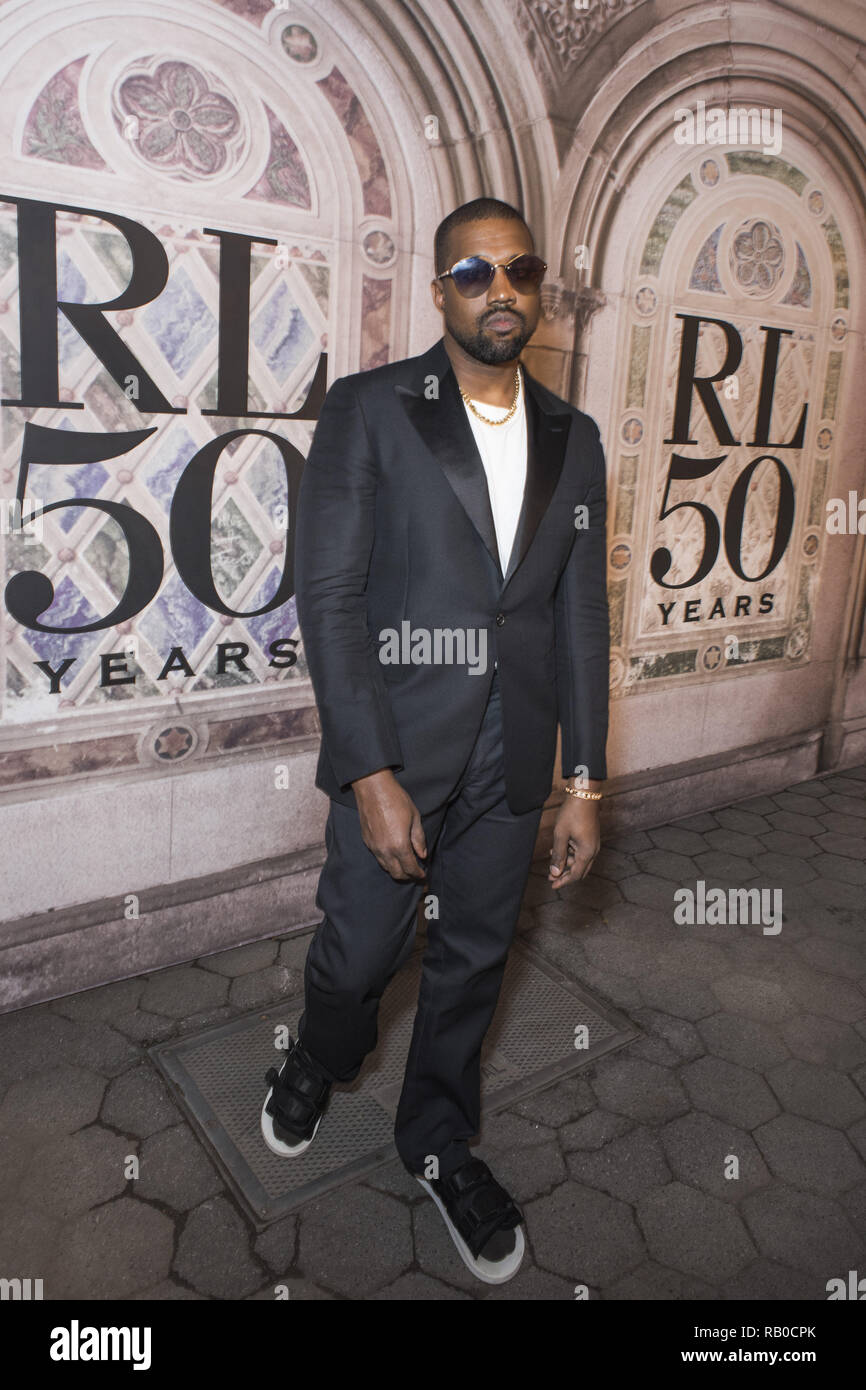 b71fbefce540b Kanye West attends the Ralph Lauren 50th Anniversary event during New York  Fashion Week at Bethesda Terrace on September 7
