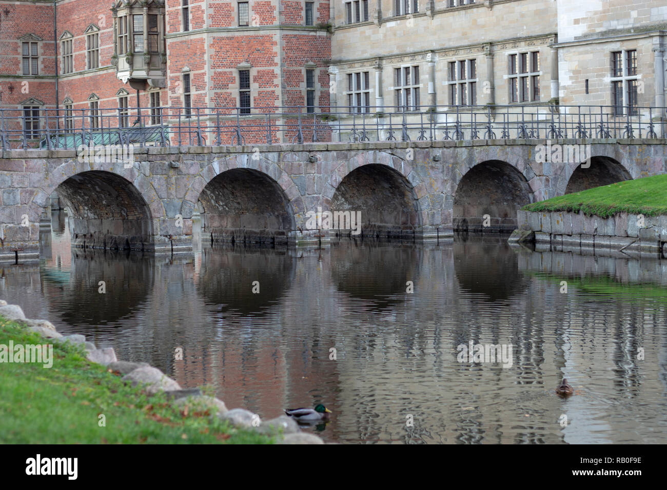 Frederiksborg castle bridge - Stock Image