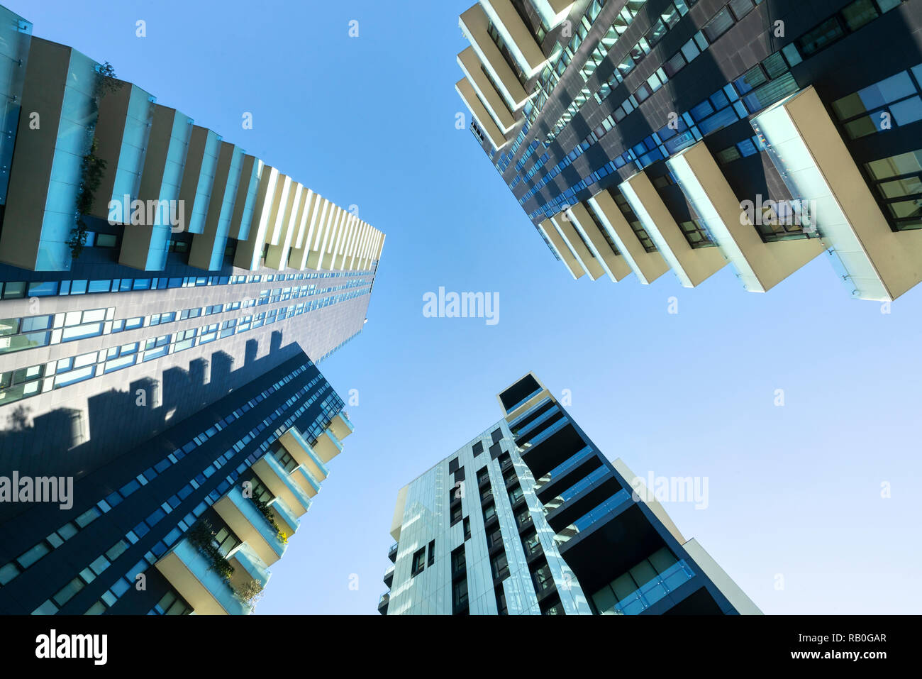 bottom view of skyscrapers in the Isola district in Milan, Italy Stock Photo
