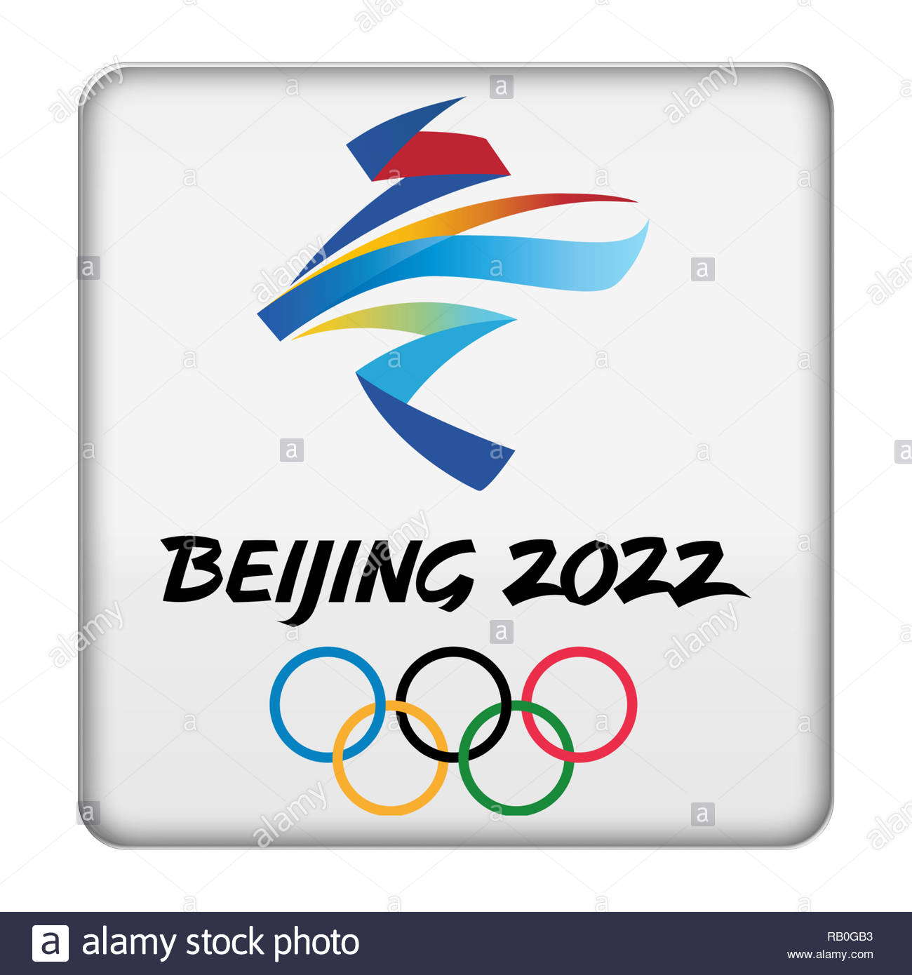 Beijing 2022 Winter Olympic Games logo sign - Stock Image