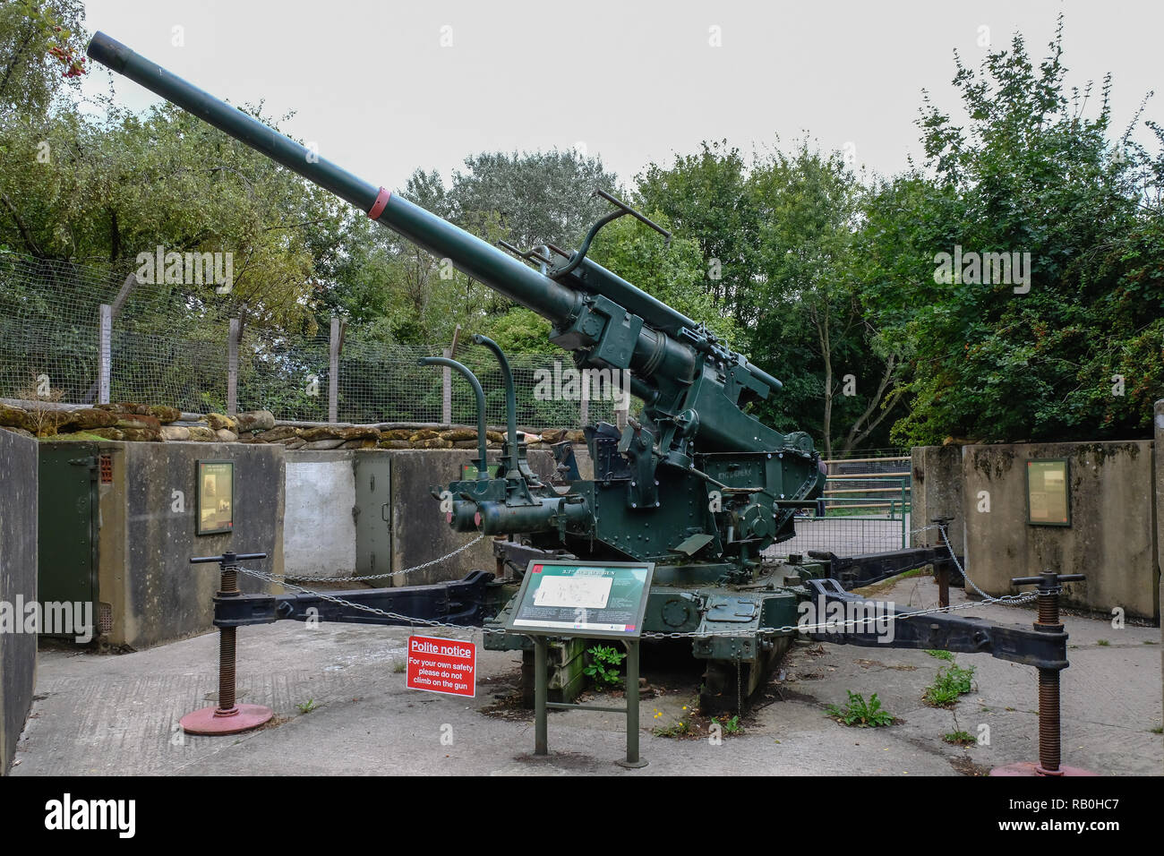 Mudcute, Isle of Dogs, London, UK - August 18, 2018: Second world war ack ack gun emplacement near the mudcute farm in east London. - Stock Image