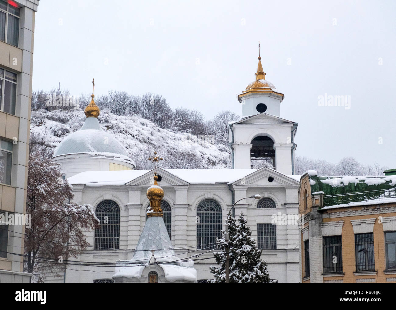 Kyiv, Ukraine - December 15, 2018: Church on Podil in the historical part of the city covered with snow. Kiev, Ukraine - Stock Image