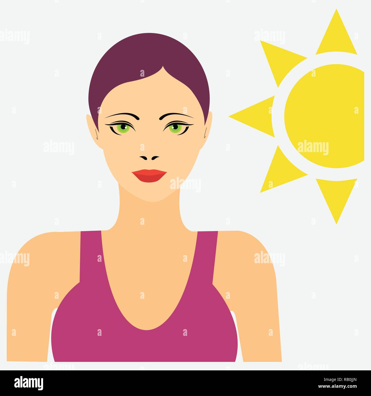Portrait of a woman in swimming suit with the sun behind - Stock Image