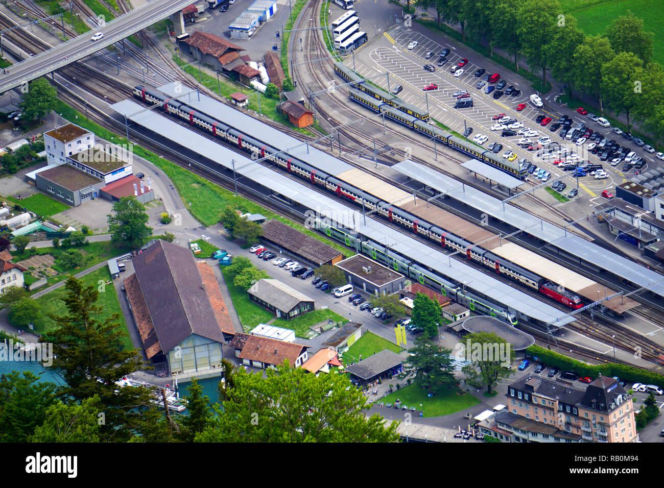 Interlaken Ost railway station - Stock Image