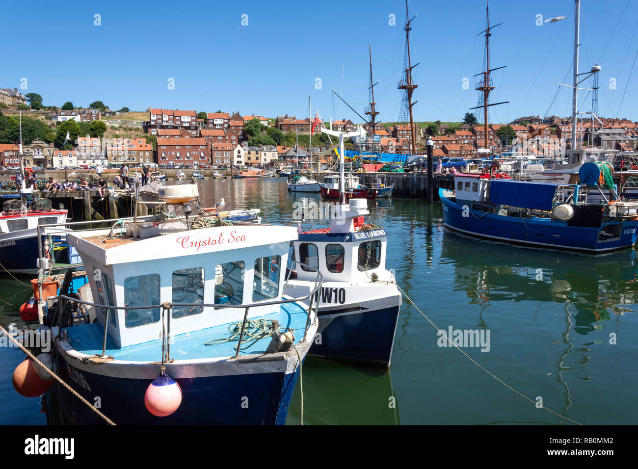 Harbour jetty, Whitby, North Yorkshire, England, United Kingdom - Stock Image