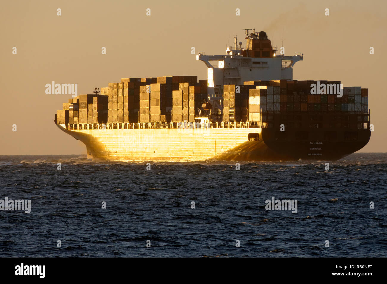Container ship Al Hilal Monrovia on the Indian Ocean, Fremantle, Western Australia - Stock Image
