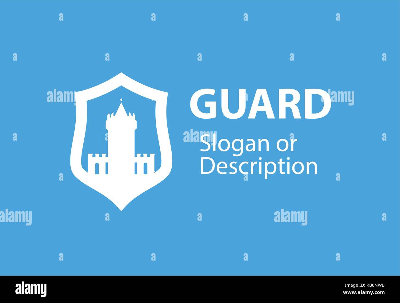 Blazon emblem with Shield and Stronghold castle - Vector logotype emblem for business flat style - Stock Vector