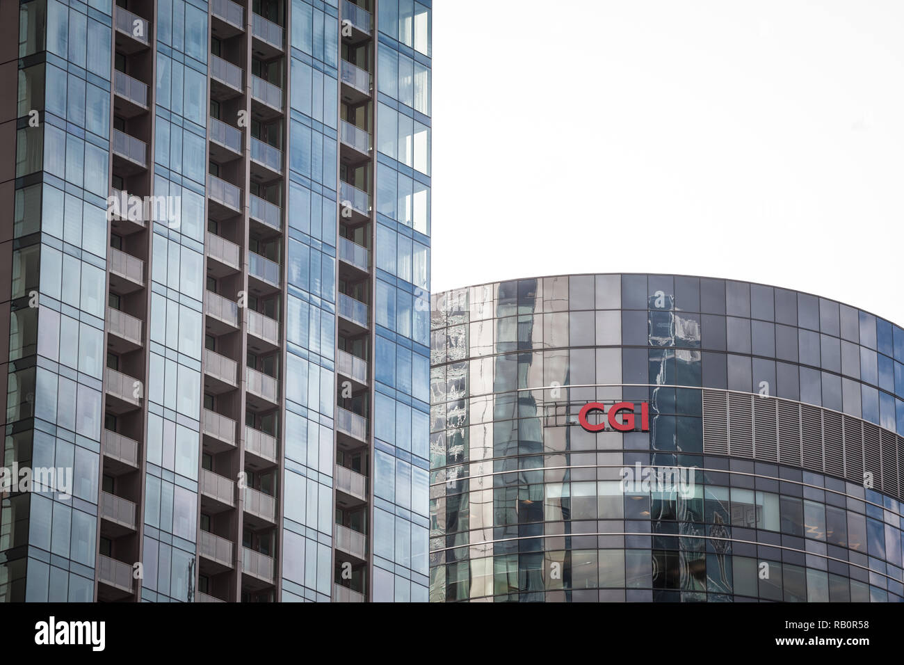 MONTREAL, CANADA - NOVEMBER 4, 2018: CGI Group on their headquarters in Montreal, Quebec. Also known as Conseillers en Gestion Informatique, it is a C - Stock Image