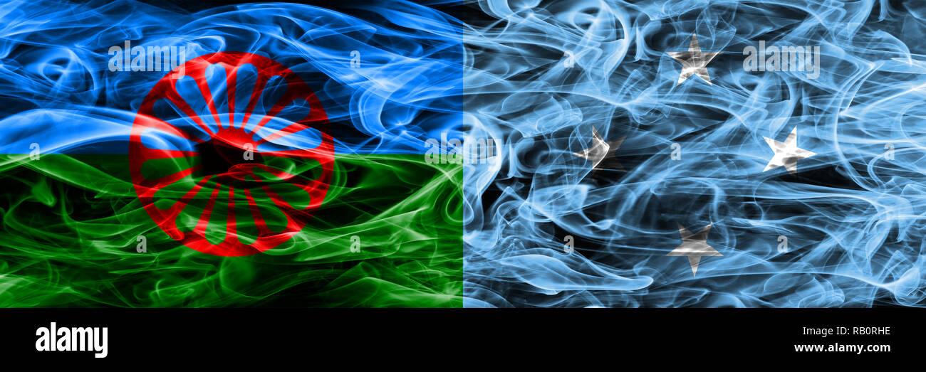 Gipsy, Roman vs Micronesia, Micronesian smoke flags placed side by side - Stock Image