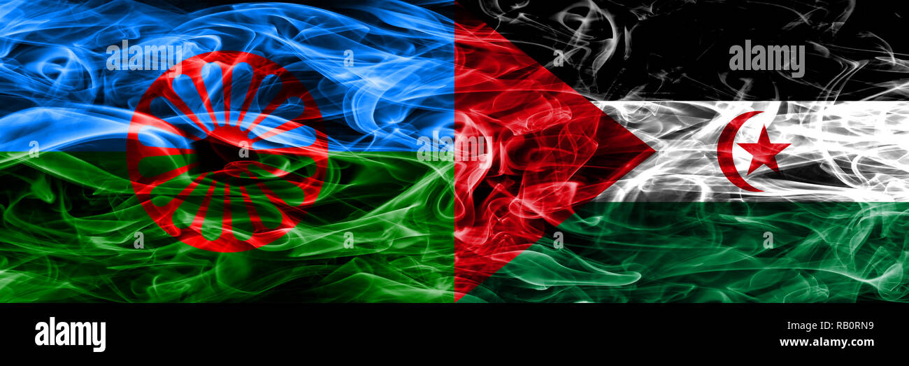 Gipsy, Roman vs Sahrawi smoke flags placed side by side - Stock Image