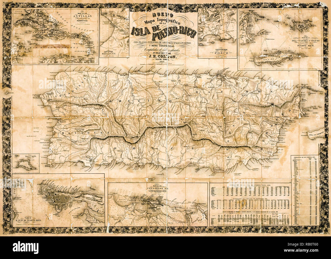 Antique topographical map of Puerto Rico 1863 while under Spanish ...