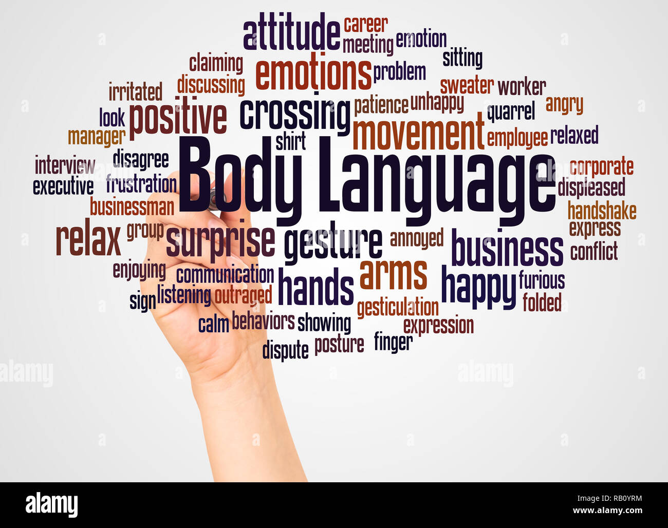 Body Language word cloud and hand with marker concept on white background. - Stock Image