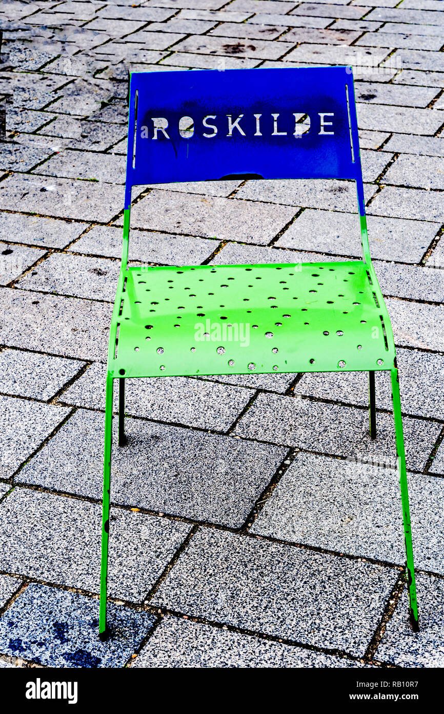 Roskilde (Denmark), Chairs on Marketplace with Inscription 'Roskilde' - Stock Image