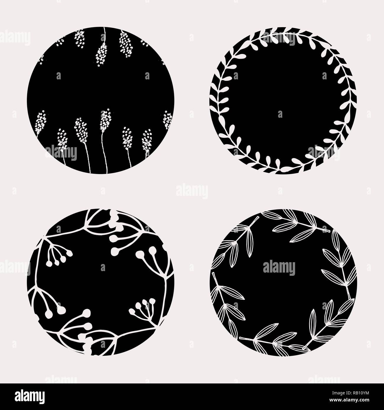 A Set Of Four Round Frames With Floral Elements In Black And Pastel