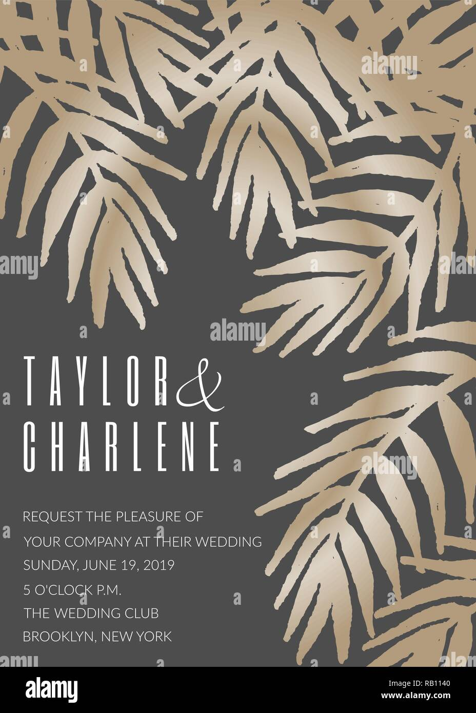 Wedding Invitation Template With Golden Tropical Leaves On Dark Gray Background And Sample Text Layout Vector Greeting Card Bridal Shower Brochure Stock Vector Image Art Alamy Wedding invitation (bonus 5 extra!), rsvp, information card, save the date, program, menu and thank you, table number and place card! https www alamy com wedding invitation template with golden tropical leaves on dark gray background and sample text layout vector greeting card bridal shower brochure image230518848 html