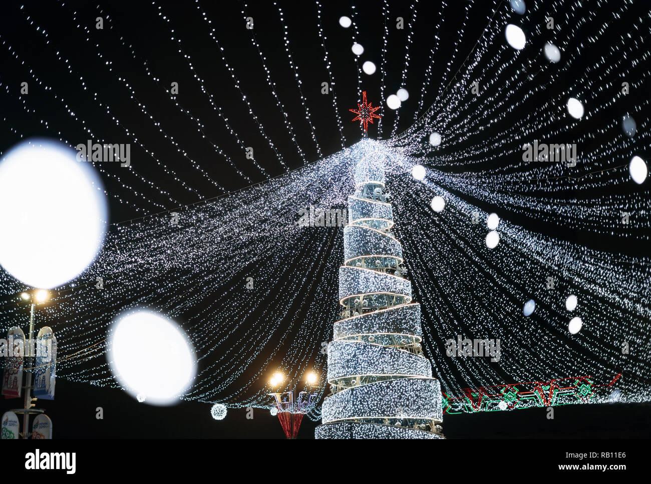 Minsk, Belarus - December 28, 2018: View of a Christmas tree 2019 at Pobediteley avenue in Minsk, Belarus - Stock Image